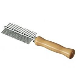 Pettine con manico in legno e denti in acciaio cromato doppio